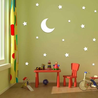 Moon N Stars Acrylic 3D Wall Art Sticker  white
