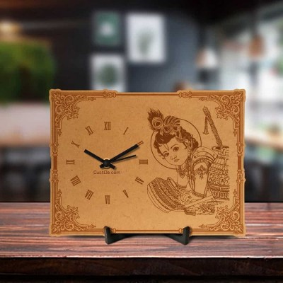 Makhan Chor Krishna Engraved Table Clock