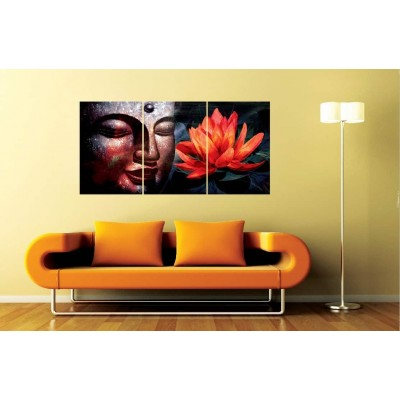 Buddha with Red Flower Set of 3 Wall Mounted Panels