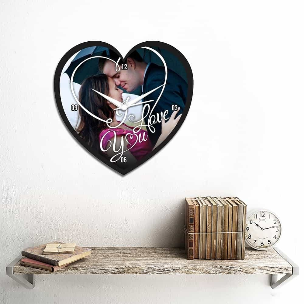 Personalized/Customized Heart Shape Wall Clock-Small-Multicolour