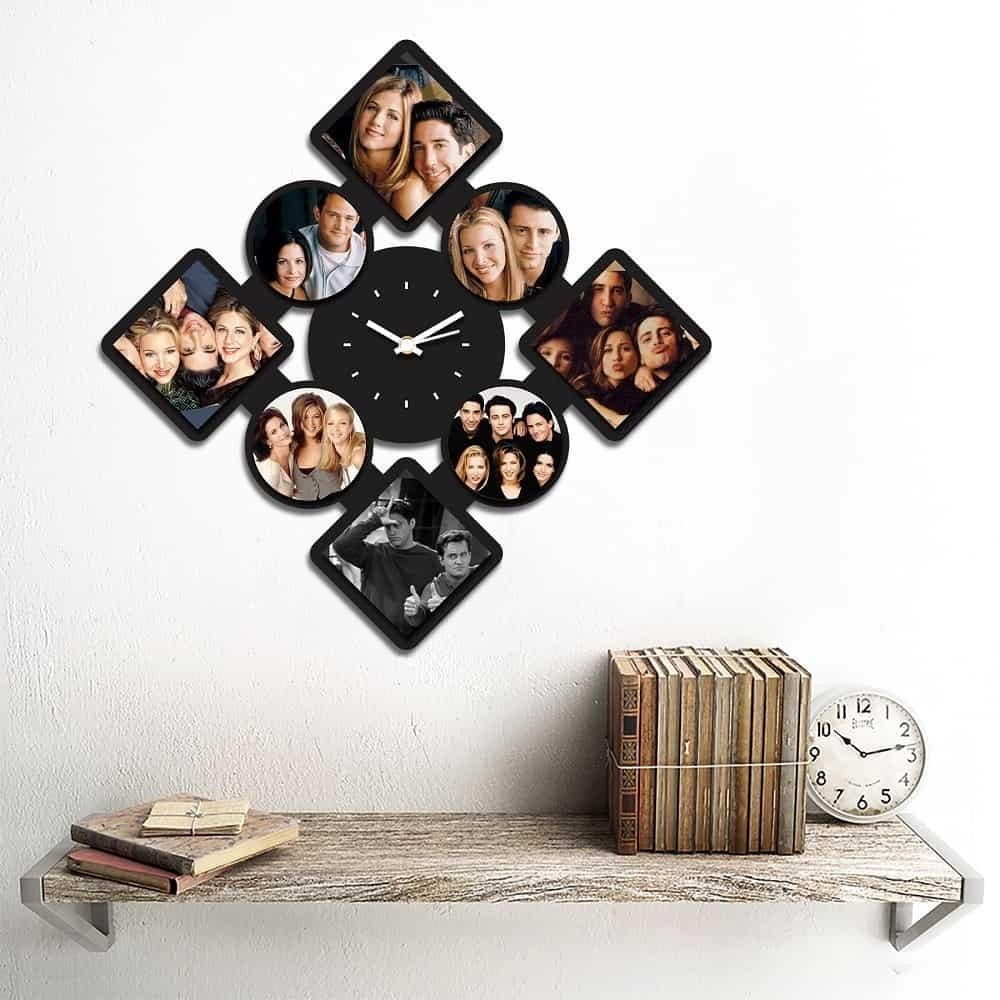 Personalized/Customized 8 Pic Diamond Shape Wall Clock Style 2-Small-Black