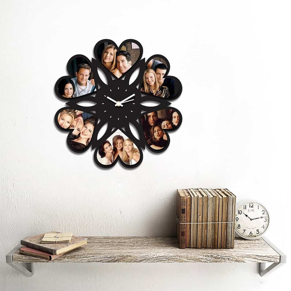 Personalized/Customized 6 Heart Pics Wall Clock Style 1-Small-Black