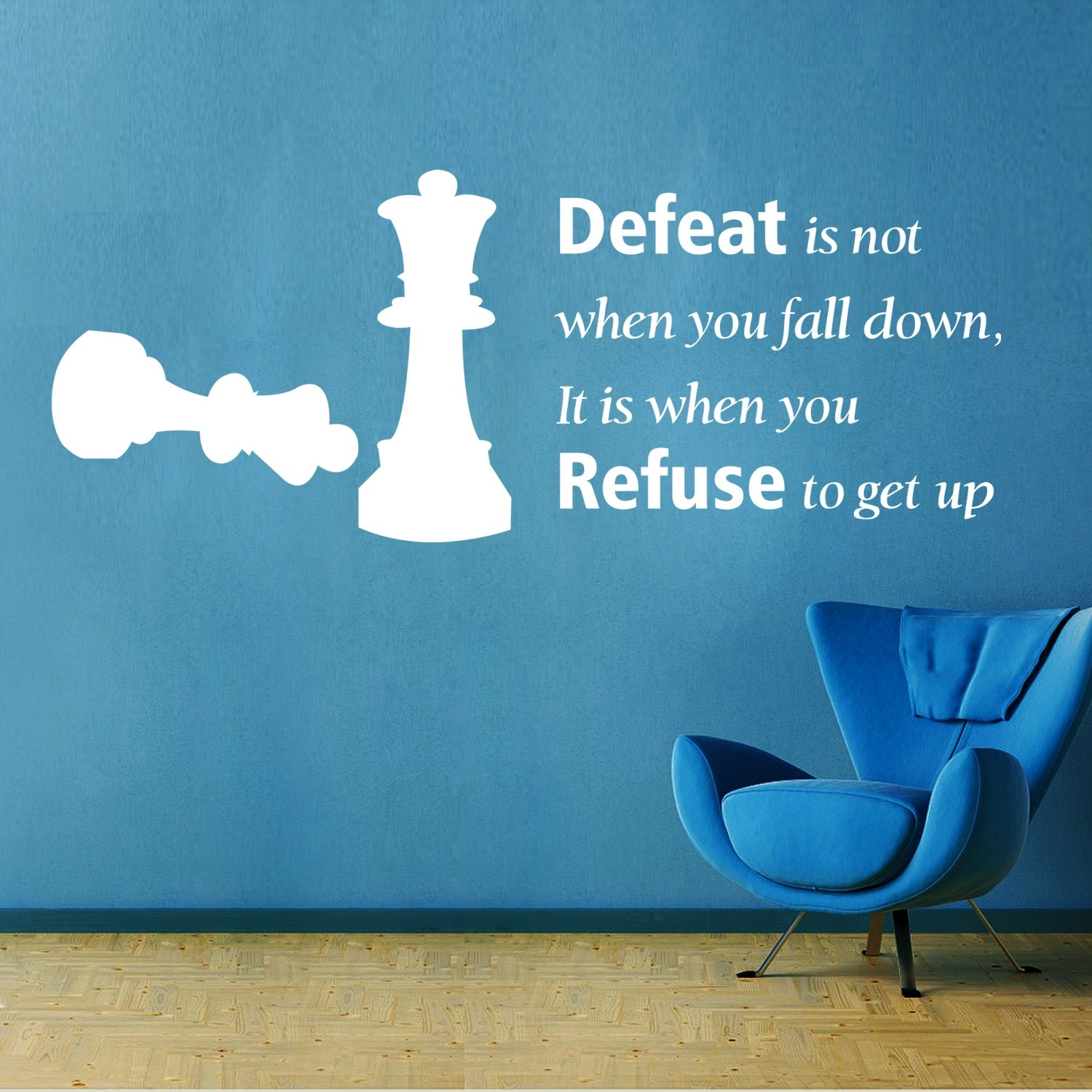 Defeat Quote Wall Sticker Decal-Small-White