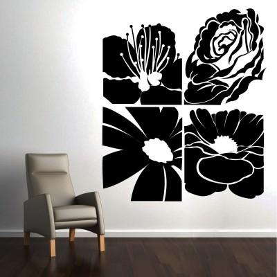 Abstract Flowers Wall Sticker Decal-Medium-Black