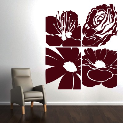 Abstract Flowers Wall Sticker Decal-Small-Burgundy