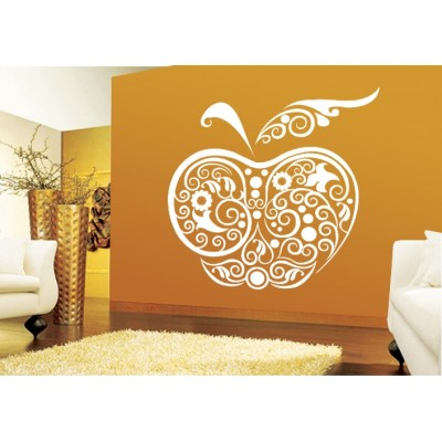 Apple Wall Sticker Decal-Small-White