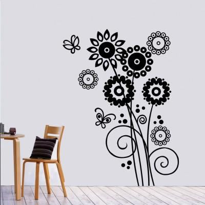 Artistic Flowers Wall Sticker Decal-Medium-Black