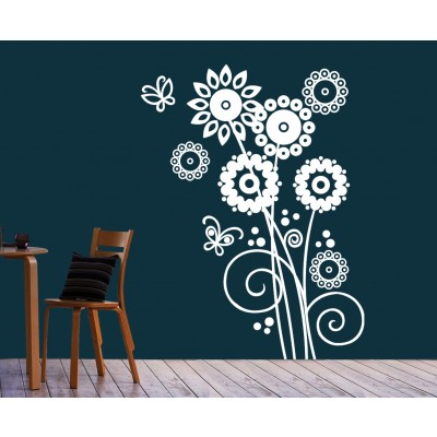 Artistic Flowers Wall Sticker Decal-Small-White