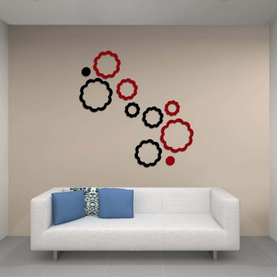 Abstract Flowers Acrylic 3D Wall Art Sticker Small (10 pieces) blacknred