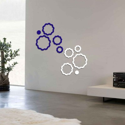Abstract Flowers Acrylic 3D Wall Art Sticker Small (10 pieces) whitenblue