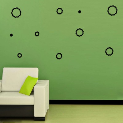 Abstract Flowers Acrylic 3D Wall Art Sticker Small (10 pieces) black
