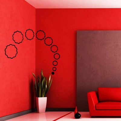 Abstract Flowers Acrylic 3D Wall Art Sticker Large (10 pieces) black