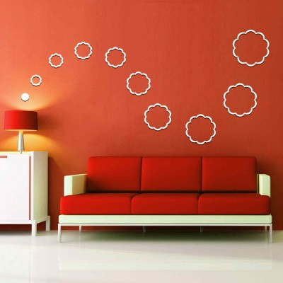 Abstract Flowers Acrylic 3D Wall Art Sticker Large (10 pieces) white