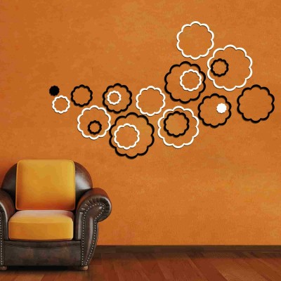 Abstract Flowers Acrylic 3D Wall Art Sticker Large (20 pieces) blacknwhite