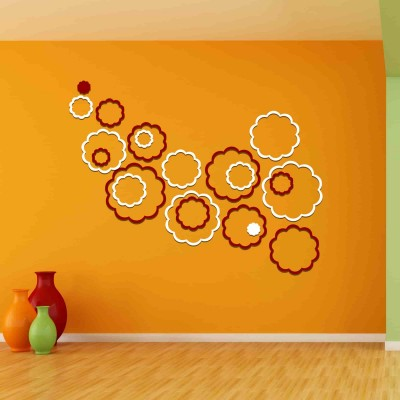 Abstract Flowers Acrylic 3D Wall Art Sticker Large (20 pieces) whitenred