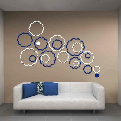 Abstract Flowers Acrylic 3D Wall Art Sticker Large (20 pieces) whitenblue