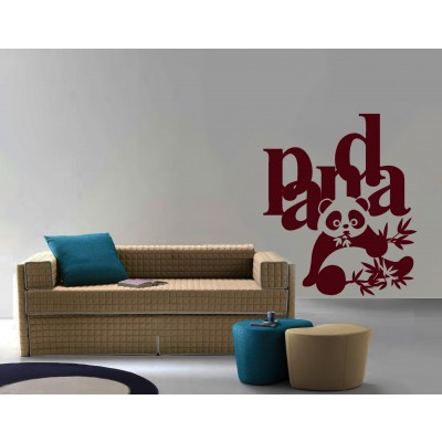 Cute Panda Wall Sticker Decal-Small-Burgundy