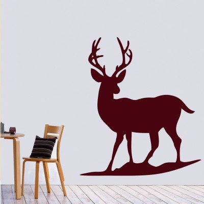 Lonely Deer Wall Sticker Decal-Small-Burgundy