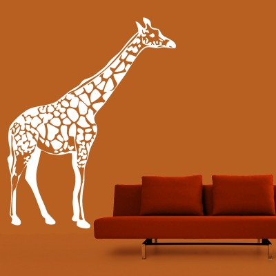 Giraffe Wall Sticker Decal-Small-White