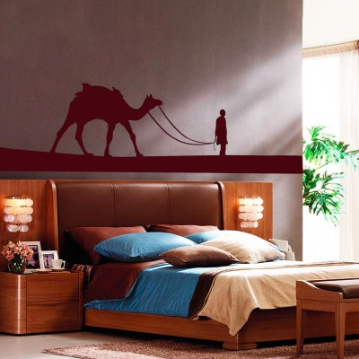 Desert Camel Wall Sticker Decal-Small-Burgundy