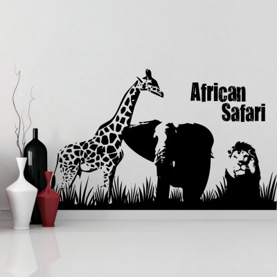 African Safari Wall Sticker Decal-Small-Black