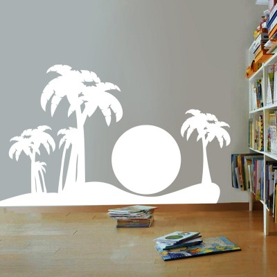 Sun On Beach Wall Sticker Decal-Small-White