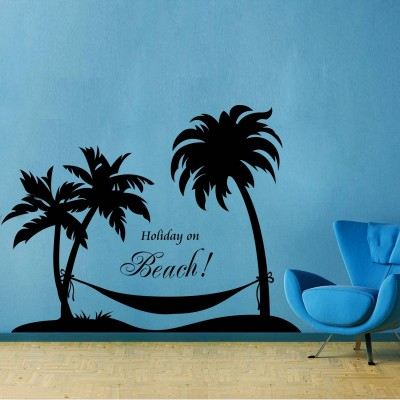 Holiday On Beach1 Wall Sticker Decal-Small-Black