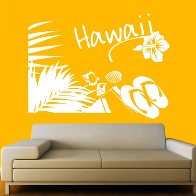 Holiday In Hawaii Wall Sticker Decal-Small-White