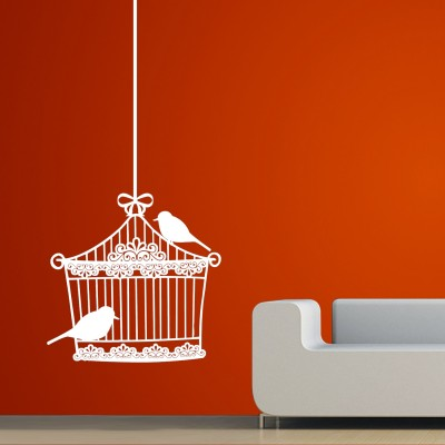 Love Birds In Cage Wall Sticker Decal-Small-White