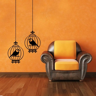 Birds In Cage Wall Sticker Decal-Small-Black
