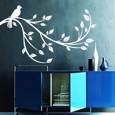 Bird On A Branch Wall Sticker Decal-Small-White