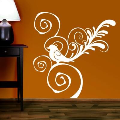 Bird In Swirl Wall Sticker Decal-Small-White