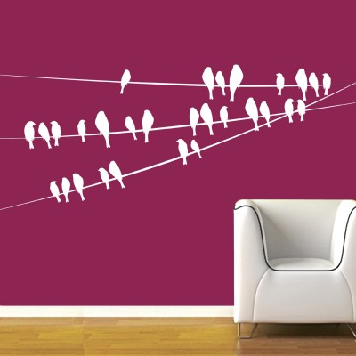 Birds On Wire Wall Sticker Decal-Small-White