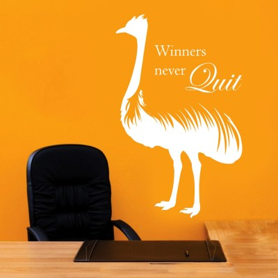 Winners Never Quit Wall Sticker Decal-Small-White