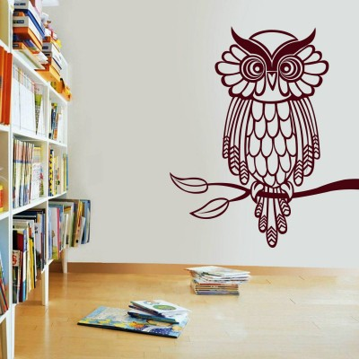 Owl On Branch Wall Sticker Decal-Small-Burgundy