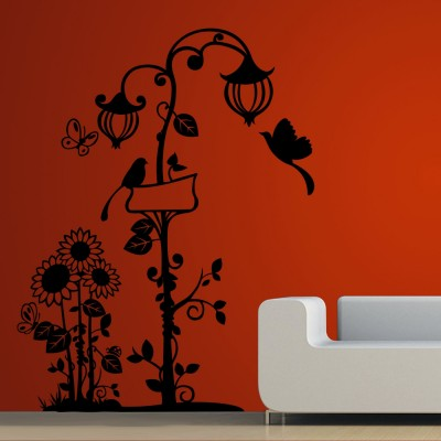 Birds N the Lamp Post Wall Sticker Decal-Small-Black