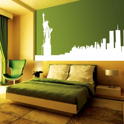 Statue Of Liberty Wall Sticker Decal-Small-White