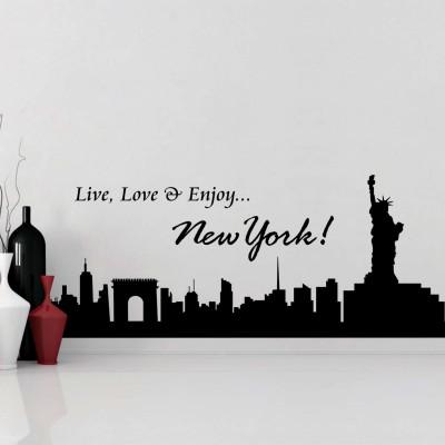 Live Love N Enjoy New York Wall Sticker Decal-Small-Black