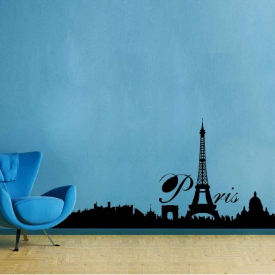 City Of Paris Wall Sticker Decal-Small-Black