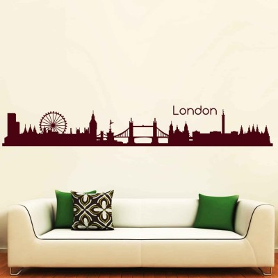 City Of London Wall Sticker Decal-Small-Burgundy