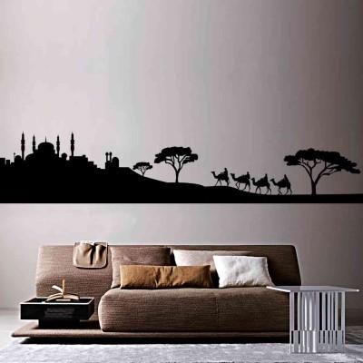Arabic City Wall Sticker Decal-Small-Black