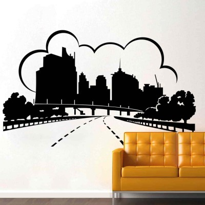 Urban City Wall Sticker Decal-Small-Black