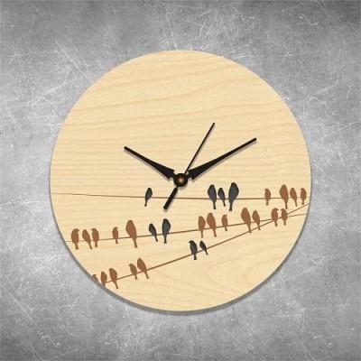 Birds On Branch Birchwood Wall Clock