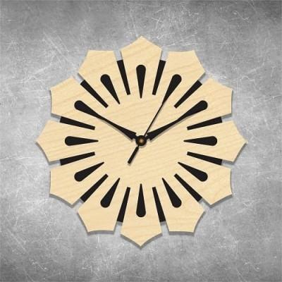 Floral Cut 1 Birchwood Wall Clock