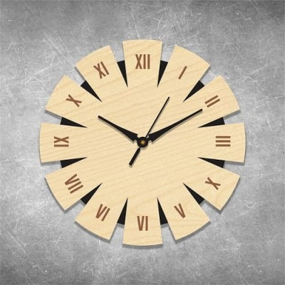 Number Engraved Birchwood Wall Clock