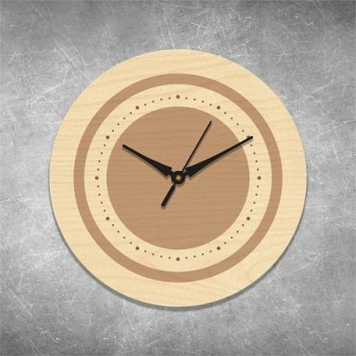 Elegant Engraved Birchwood Wall Clock