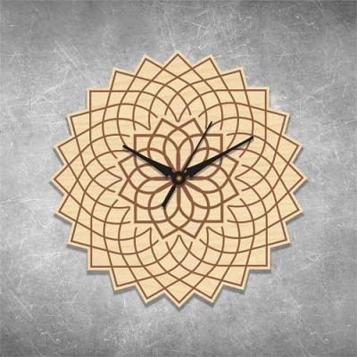 Floral Engraved Birchwood Wall Clock