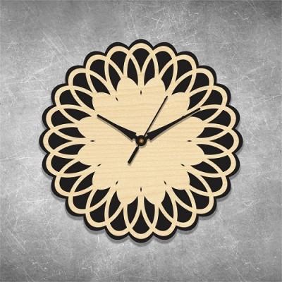 Floral Cut 2 Birchwood Wall Clock