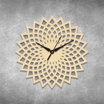 Floral Cut 3 Birchwood Wall Clock