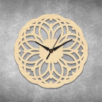 Floral Cut 4 Birchwood Wall Clock